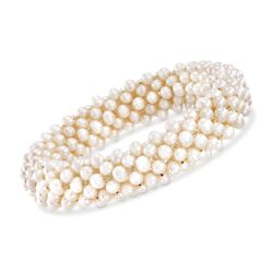 4-4.5mm Cultured Pearl Stretch Cluster Bracelet, , default