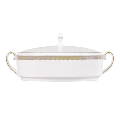 """Vera Wang for Wedgwood """"Lace Gold"""" Covered Vegetable Bowl"""