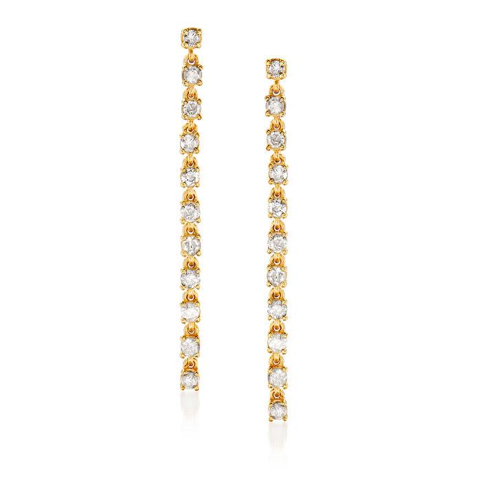 .62 ct. t.w. Diamond Linear Drop Earrings in 18kt Gold Over Sterling