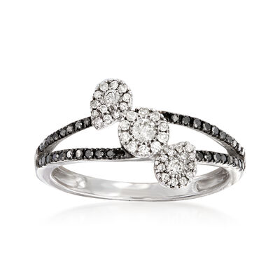 .40 ct. t.w. Black and White Diamond Ring in 14kt White Gold