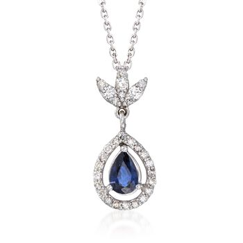 """.60 Carat Sapphire and .25 ct. t.w. Diamond Pendant Necklace in 14kt White Gold. 16"""", , default"""