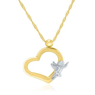 14kt Two-Tone Gold Angel Heart Pendant Necklace, , default