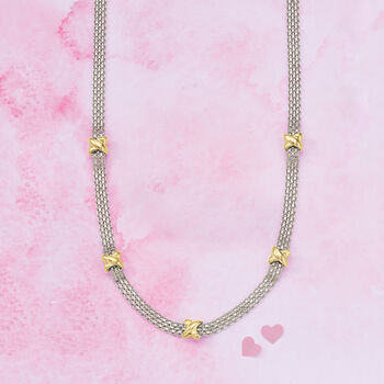 Sterling Silver and 14kt Yellow Gold Bismark-Link Necklace, , default