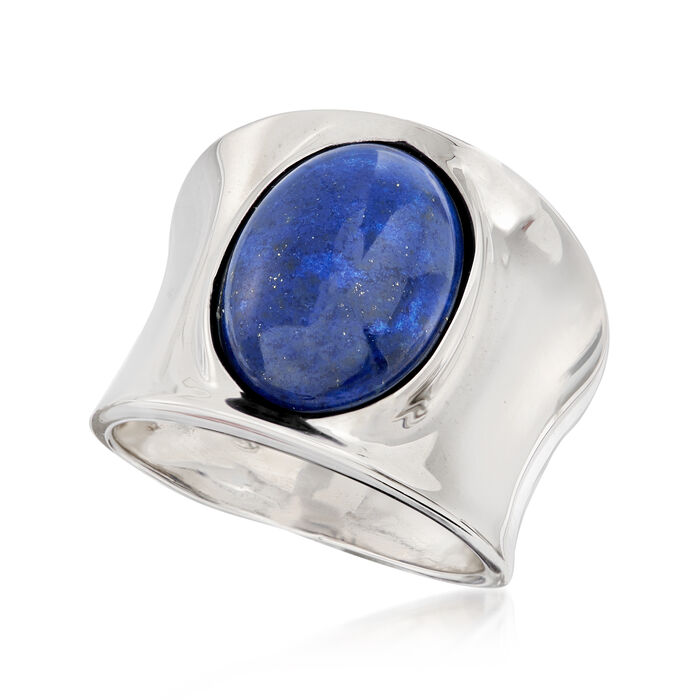 Italian 14x10mm Lapis Ring in Sterling Silver