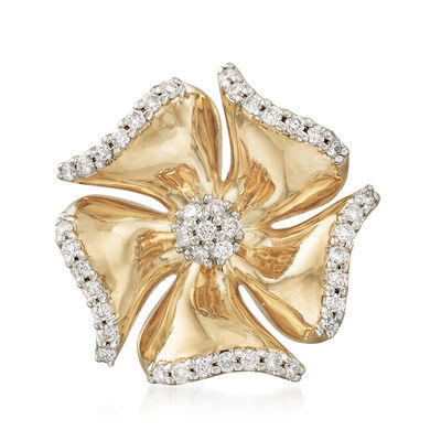.27 ct. t.w. Diamond Flower Pin in 14kt Yellow Gold , , default