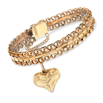 C. 1950 Vintage 18kt Yellow Gold Heart Charm Bracelet, , default