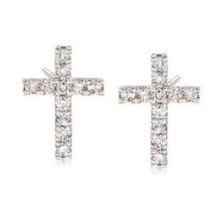 .33 ct. t.w. Diamond Cross Earrings in 14kt White Gold, , default