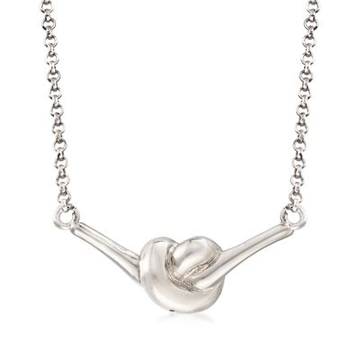 Italian Sterling Silver Knot Necklace, , default