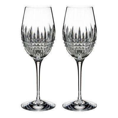"Waterford Crystal ""Diamond Essence"" Set of 2 Lismore Wine Glasses"