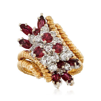 C. 1970 Vintage 1.40 ct. t.w. Ruby and 1.00 ct. t.w. Diamond Cluster Ring in 18kt Yellow Gold, , default