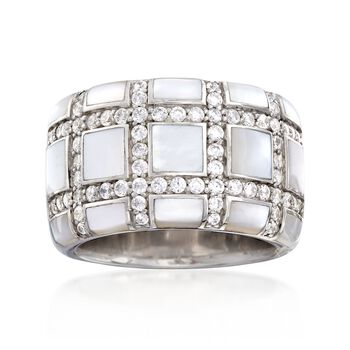 """Belle Etoile """"Regal"""" Mother-Of Pearl and 1.10 ct. t.w. CZ Ring in Sterling Silver. Size 7, , default"""