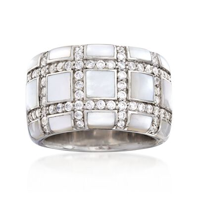 "Belle Etoile ""Regal"" Mother-Of Pearl and 1.10 ct. t.w. CZ Ring in Sterling Silver, , default"