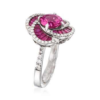 1.80 Carat Pink Tourmaline and 1.30 ct. t.w. Ruby with .53 ct. t.w. Diamond Ring in 14kt White Gold. Size 7, , default