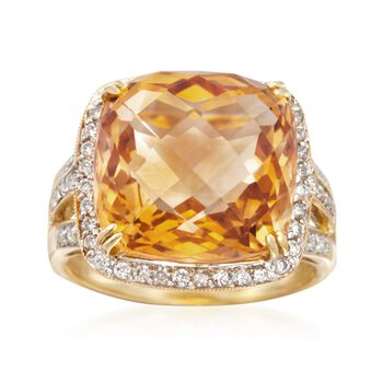 9.50 Carat Citrine and And .40 ct. t.w. Diamond Ring in 14kt Yellow Gold, , default