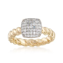 Italian .45 ct. t.w. CZ Ring in 18kt Gold Over Sterling. Size 5, , default