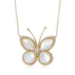 Mother-Of-Pearl and .94 ct. t.w. Diamond Butterfly Necklace in 14kt Yellow Gold, , default