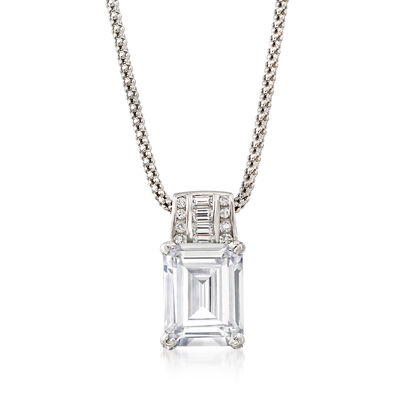 5.75 ct. t.w. CZ Pendant Necklace in Sterling Silver, , default