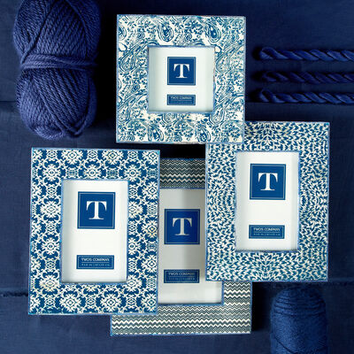 Set of Four Indigo Blue and White Batik Patterned Frames , , default