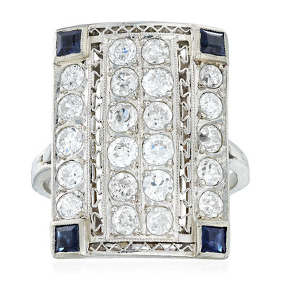 C. 1950 Vintage 1.75 ct. t.w. Diamond and .40 ct. t.w. Sapphire Ring in 14kt White Gold, , default
