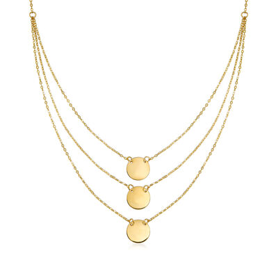 Italian 14kt Yellow Gold Single-Initial Disc Layered Necklace, , default