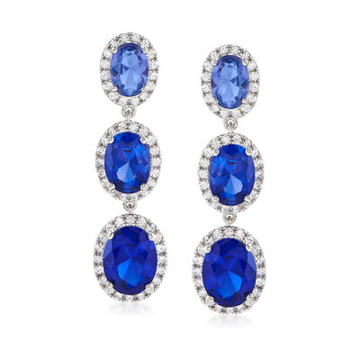 8.00 ct. t.w. Simulated Sapphire and 1.00 ct. t.w. CZ Drop Earrings in Sterling Silver