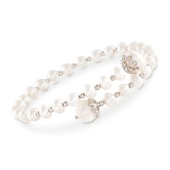 "4-9mm Cultured Pearl Wrap Bracelet in Sterling Silver. 7"", , default"