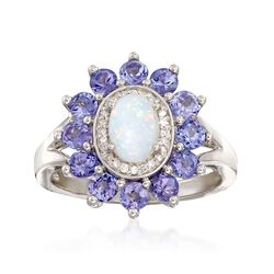 Opal and 12.00 ct. t.w. Tanzanite Ring With Diamond Accents in 14kt White Gold, , default