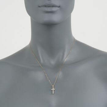 """.25 ct. t.w. Diamond Cross Pendant Necklace in 14kt Yellow Gold. 18"""", , default"""