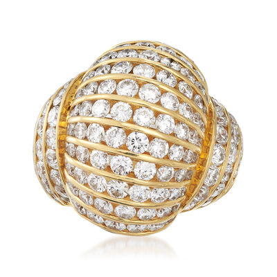 C. 1980 Vintage 6.12 ct. t.w. Diamond Dome Ring in 18kt Yellow Gold