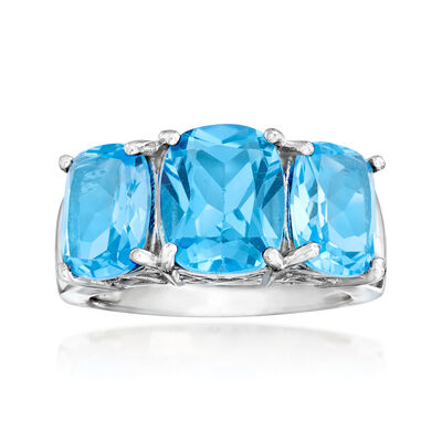 9.85 ct. t.w. Swiss Blue Topaz Three-Stone Ring in Sterling Silver