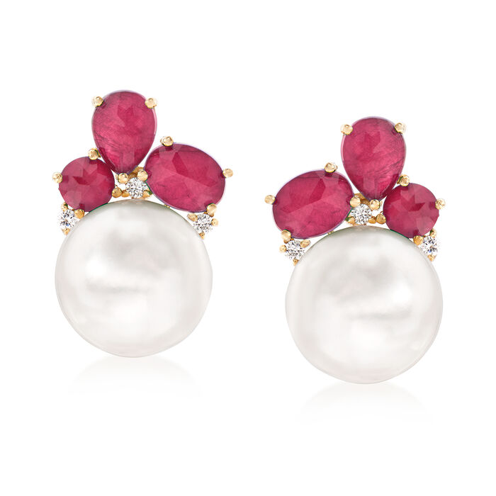14-14.5mm Cultured Pearl and 1.00 ct. t.w. Ruby Doublet Earrings with .17 ct. t.w. Diamonds in 14kt Yellow Gold, , default