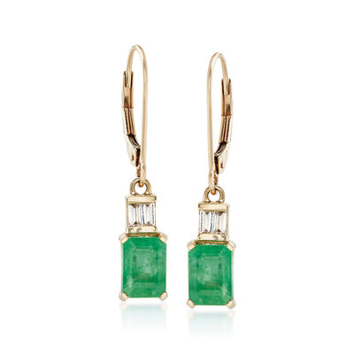 2.20 ct. t.w. Emerald and .20 ct. t.w. White Zircon Drop Earrings in 14kt Yellow Gold, , default