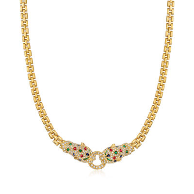 C. 1980 Vintage 1.85 ct. t.w. Multi-Gemstone and 1.70 ct. t.w. Diamond Panther Head Necklace in 18kt Yellow Gold