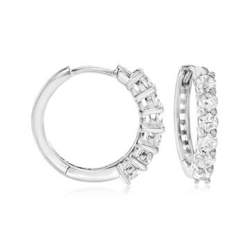 "1.20 ct. t.w. CZ Jewelry Set: Three Pairs of Huggie Hoop Earrings in Sterling Silver. 3/8""-1/2"""