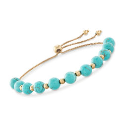Simulated Turquoise and 14kt Yellow Gold Bead Bolo Bracelet, , default