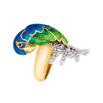 Italian .40 ct. t.w. CZ and Multicolored Enamel Parrot Ring in Sterling Silver and 18kt Gold Over Sterling. Size 8, , default