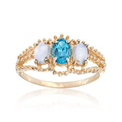 C. 1980 Vintage Opal and .60 Carat Blue Topaz Ring in 14kt Yellow Gold. Size 6.5, , default