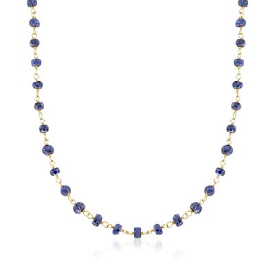 20.00 ct. t.w. Blue Sapphire Bead Necklace in 14kt Yellow Gold Over Sterling Silver, , default