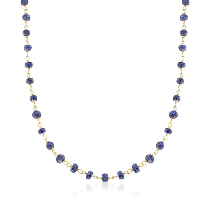 "20.00 ct. t.w. Blue Sapphire Bead Necklace in 14kt Yellow Gold Over Sterling Silver. 20"", , default"