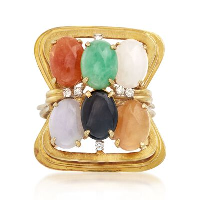 C. 1960 Vintage Multicolored Jade and .15 ct. t.w. Diamond Ring in 18kt Yellow Gold, , default