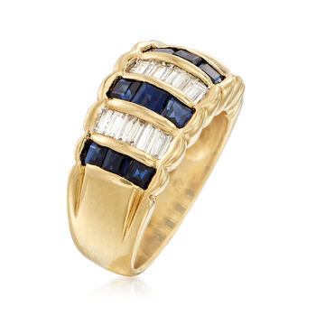 C. 1990 Vintage 1.40 ct. t.w. Sapphire and .75 ct. t.w. Diamond Ring in 18kt Yellow Gold. Size 6