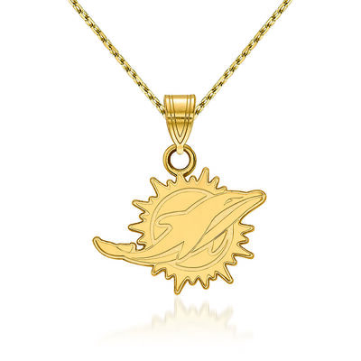 """14kt Yellow Gold NFL Miami Dolphins Pendant Necklace. 18"""", , default"""