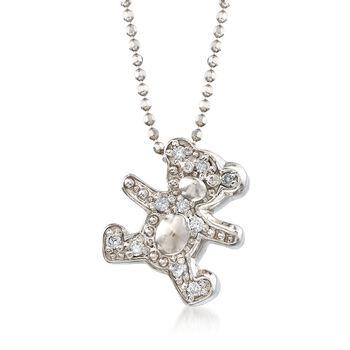 "C. 2000 Vintage Alex Woo ""Baby Boy Teddy"" .10 ct. t.w. Diamond Bear Necklace in 14kt White Gold. 16"", , default"