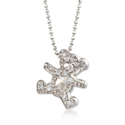 "C. 2000 Vintage Alex Woo ""Baby Boy Teddy"" .10 ct. t.w. Diamond Bear Necklace in 14kt White Gold, , default"