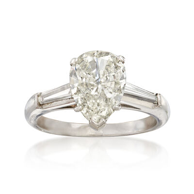 Majestic Collection 2.02 Carat Pear-Shape Diamond Ring in Platinum