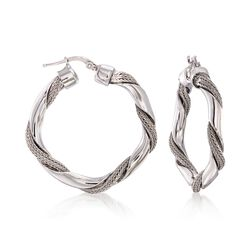 "Italian Sterling Silver Chain-Wrapped Hoop Earrings. 1 3/8"", , default"