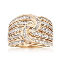 .75 ct. t.w. Diamond Twist Ring in 14kt Yellow Gold, , default