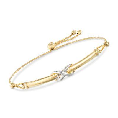 14kt Two-Tone Gold Infinity Symbol Bar Bolo Bracelet, , default