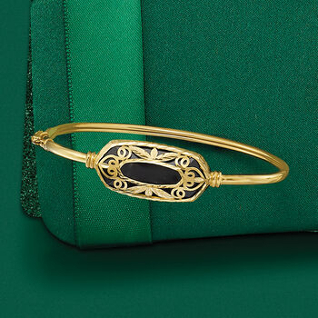 Black Onyx Openwork Overlay Bangle Bracelet in 14kt Yellow Gold, , default