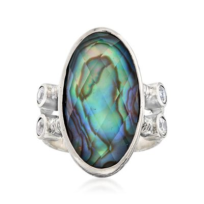 Multicolored Abalone Shell Doublet Ring with .60 ct. t.w. White Topaz in Sterling Silver, , default